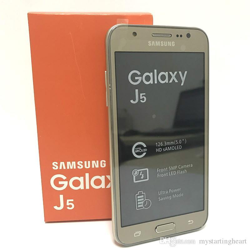 الأصلي 5.0 بوصة سامسونج غالاكسي J5 SM-J500F J500F 1.5GB 16GB المزدوج سيم رباعية النوى 13.0MP كاميرا 4G LTE الهواتف المحمولة المجددة
