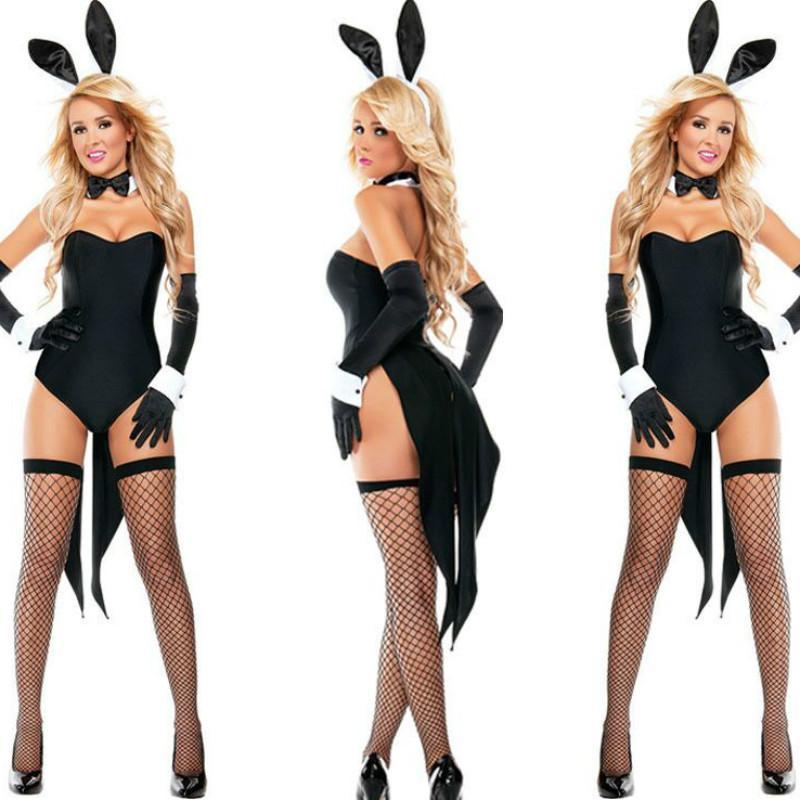 2018 New Bunny Girl Rabbit Costumes Women Cosplay Sexy Halloween Adult Animal Costume Fancy Dress Clubwear Party Wear Plus S19706