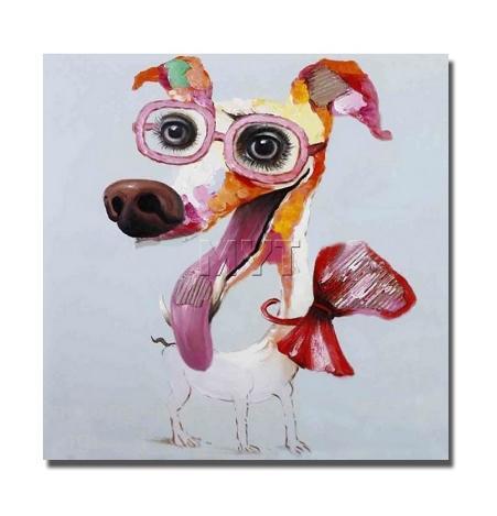 Acheter Moderne Abstrait Dessin Animé Animal Chien Avec Verre Peinture à Lhuile Sur Toile Main Art Mural Artwork Pour Enfants Room Decor Multi