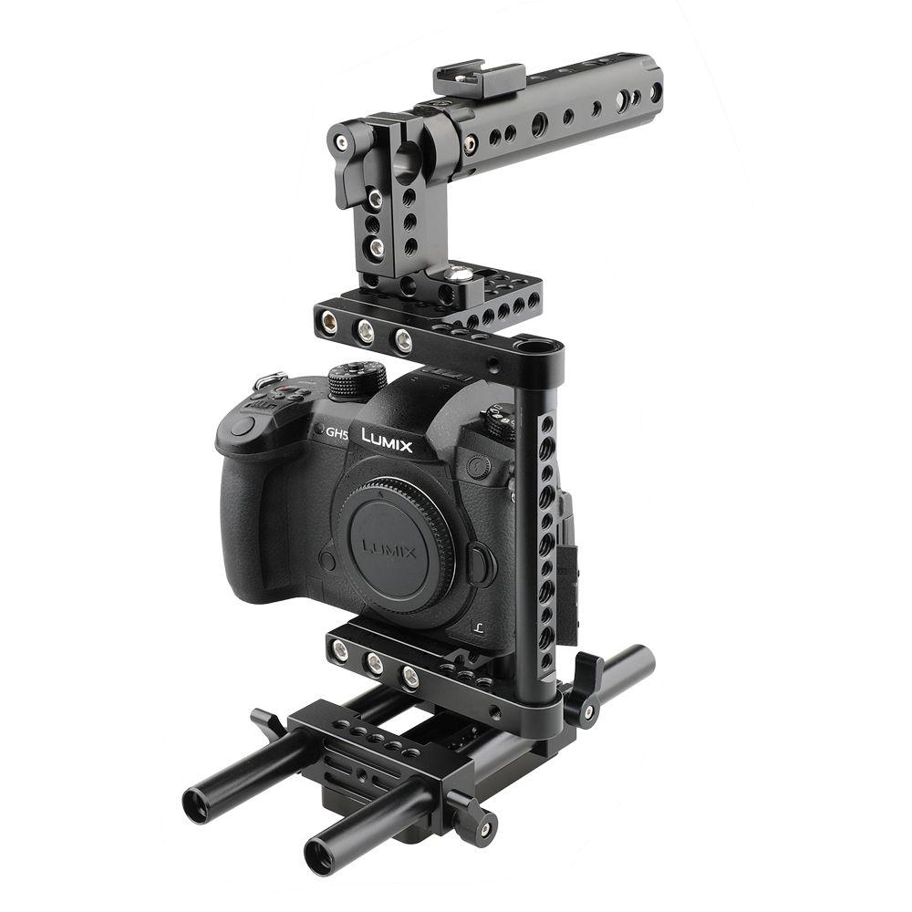 Caméra Cage Rig avec poignée supérieure Trépied Plaque de montage en Canon Nikon Sony Panasonnic