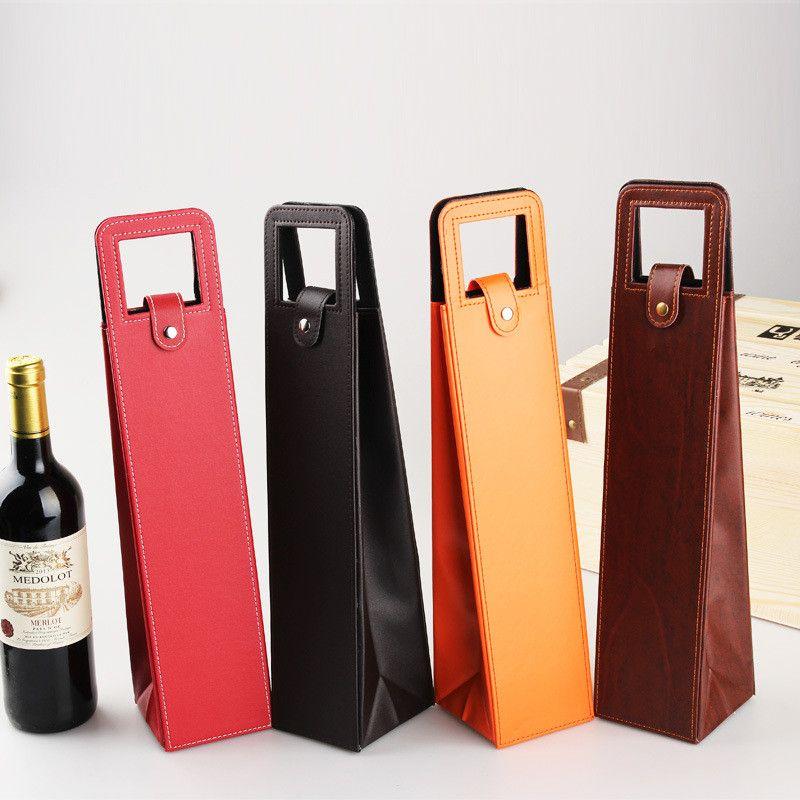 Luxo Sacos de Vinho de Couro PU Portátil Garrafa de Vinho Tinto Caixa de Embalagem Caixas de Presente Com Alça Bar Acessórios LX0524