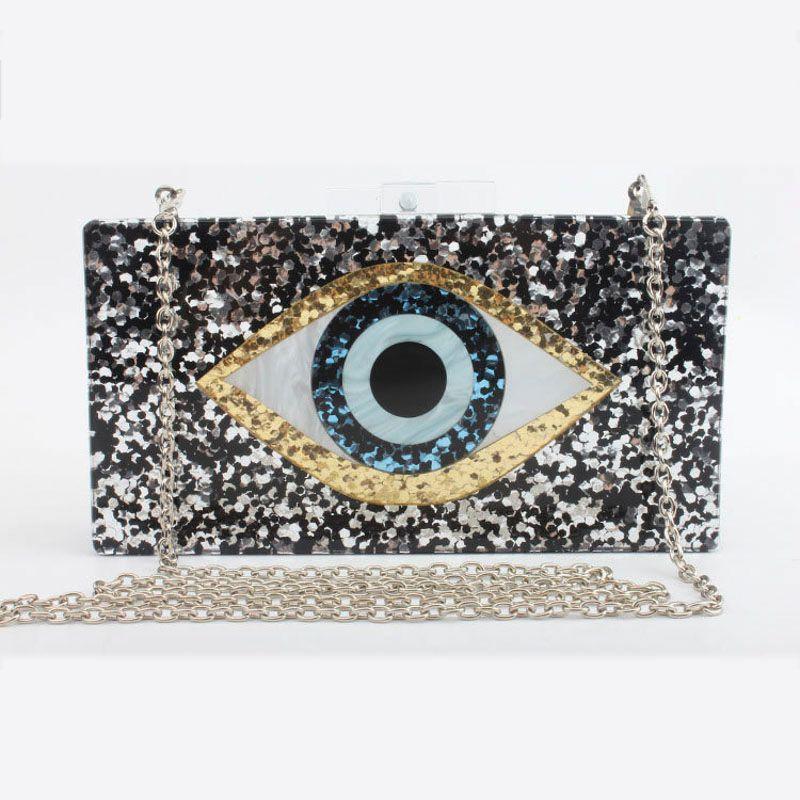 2021 Sacos Geométricos Noite Moda Mulheres Messenger Acrílico Novo Bag Carteira Mosaico Mosaico Brand Lantejoulas Eyes Casual Ombro Bag Jtflt