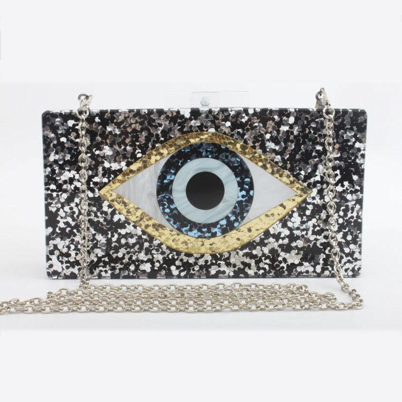 Nuevas lentejuelas de hombro Marca 2021 Mujeres Messenger Bag Geométrico Mosaico Billetera Moda Noche Casual Bolso Bolsos Ojos Acrílicos depmf