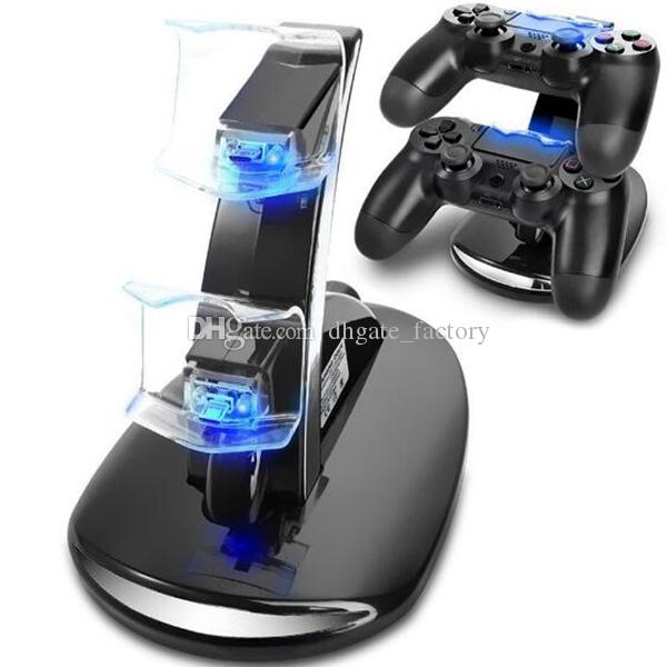 LED Dual-Ladegerät Dock Mount USB-Ladestation für PlayStation 4 PS4 Xbox One Gaming Wireless Controller mit Kleinkasten ePacket Free