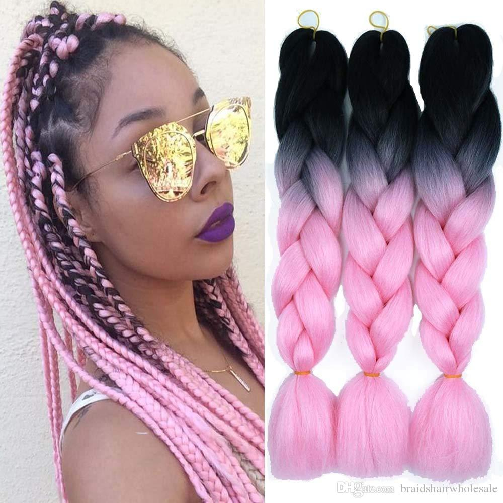 Ombre Kanekalon Braiding Hair Two Tone Synthetic Braids Hair Extensions Top Quality Crochet Braid Hair 24 inch 100g/pcs Free Shipping
