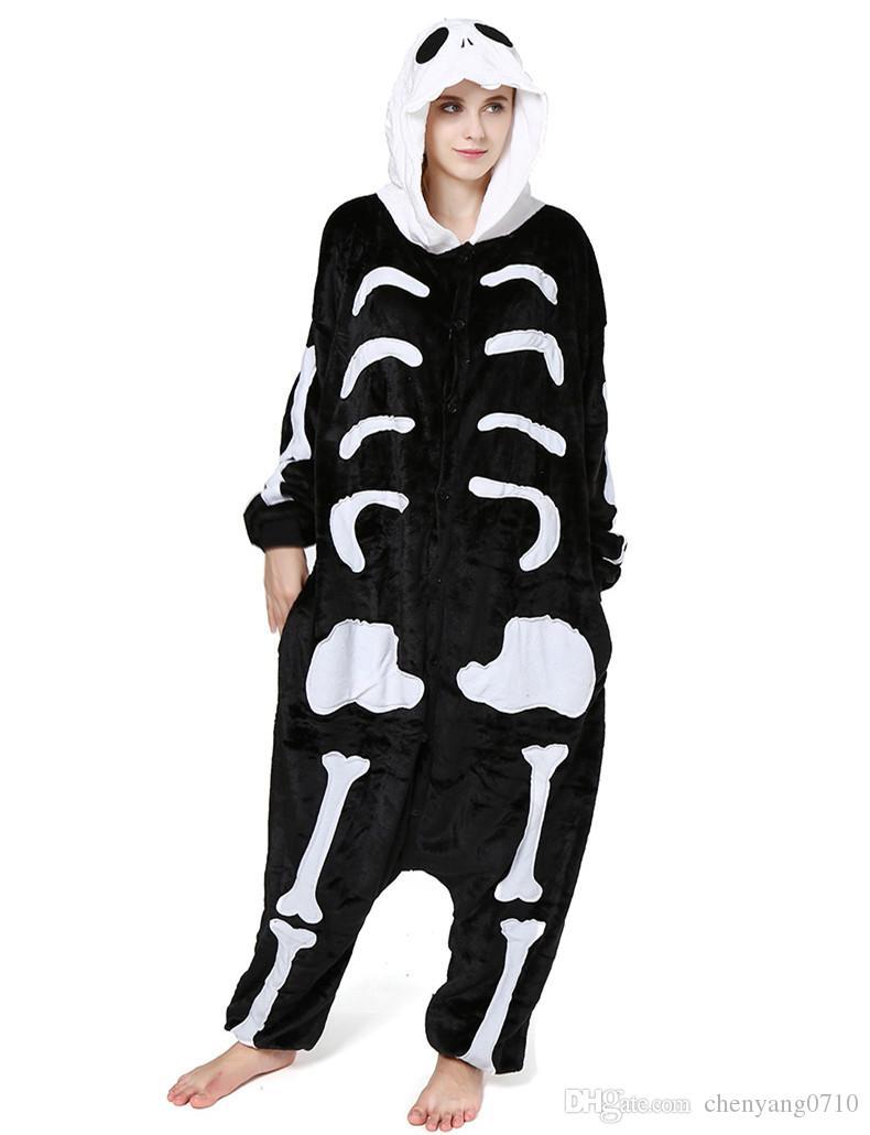 Esqueleto humano de Kigurumi de adultos para Halloween y Día de los muertos Traje de cráneo de mujer y hombre Onesie
