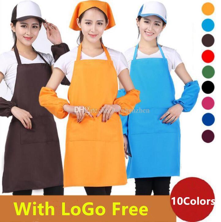 10 Colores Adulto Mujeres Delantal Cocina de Bolsillo Cocina Para Hornear Pintura Arte de Cocina Babero Mujeres Delantal Plano Cocina Comedor Protección de La Limpieza