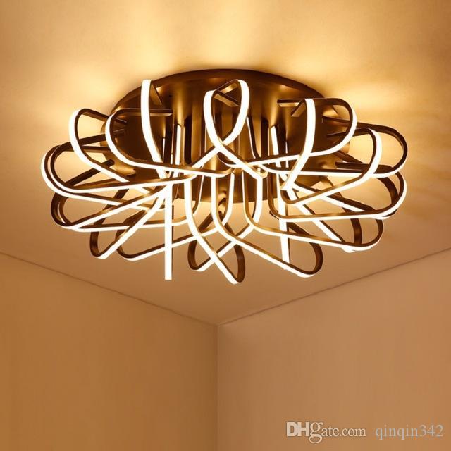 Nowoczesne Lampy sufitowe LED do salonu Sypialnia Aluminium w kawy AC85-265V Home Sufit Lampa Darmowa Wysyłka