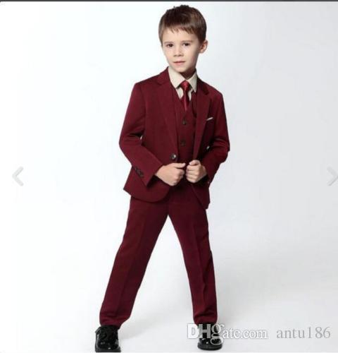 Özelleştirilmiş şarap kırmızısı tek toka kaliteli erkek takım elbise üç parçalı takım elbise (ceket + pantolon + yelek) çocuk dans partisi elbise elbise