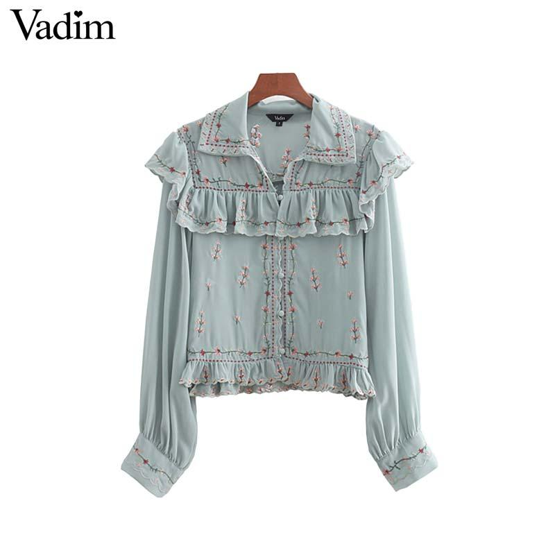 UK Women Long Sleeve Ruffles Collar Floral Embroid Shirt Casual Loose Top Blouse