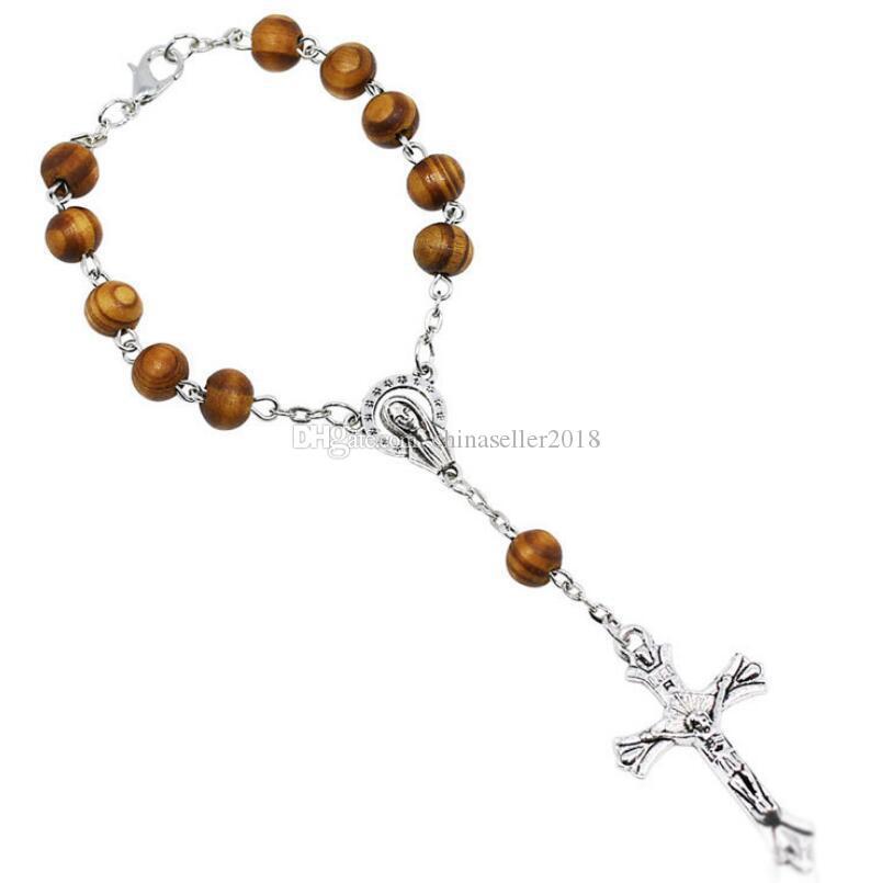 8 ملليمتر خشبية الخرزة الوردية سوار النساء المسيحية الدينية مريم العذراء يسوع الصليب الصليب سوار انخفاض الشحن