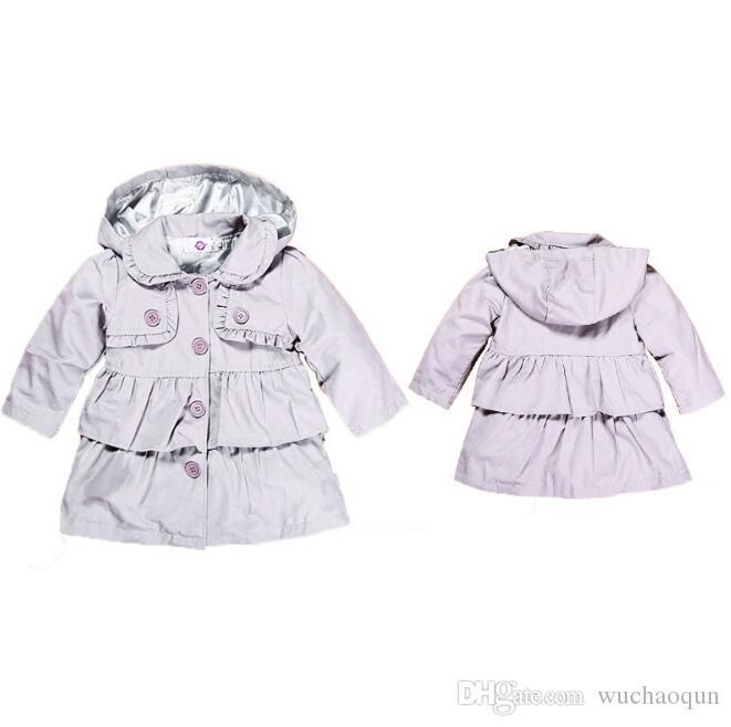 겨울이나 가을에 대한 어린이 의류 재킷 겉옷 2018 새로운 아기 유아 소녀 옷깃 허리띠 윈드 코트
