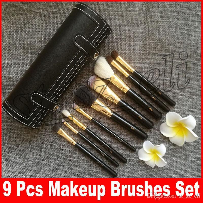 M Makeup 9 PCS Makeup Brush Set+Cup Holder Professional 9 pcs Makeup Brushes Set Cosmetic Brushes With Cylinder Cup Holder