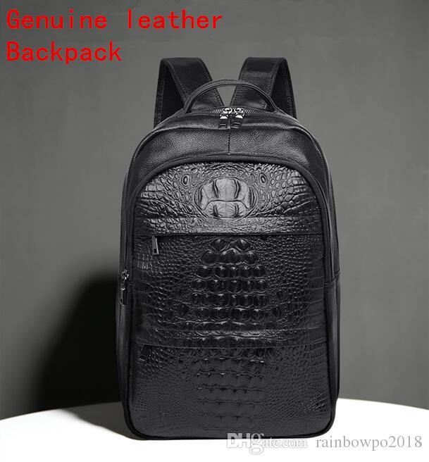 Wholesale Brand Men Bag Crocodile Lines Leather Fashion Waterproof Head Layer Cowskin Leisure Backpack Academy Wind Leather Student Backpack