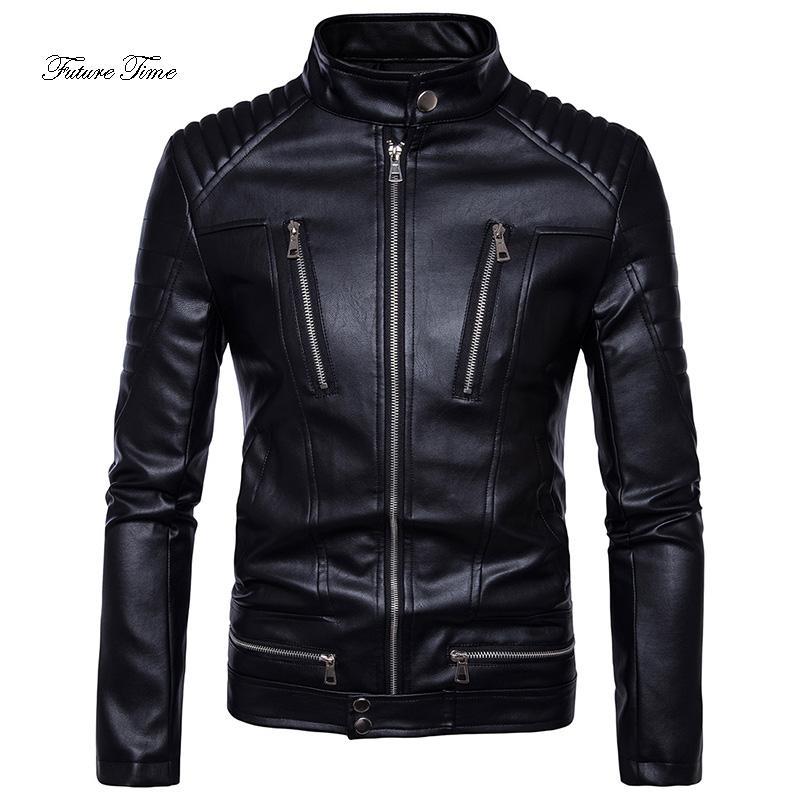 Mens Jaqueta Boutique Do Punk Zipper Múltipla PU Outerwear de Couro Macio Bonito Jaqueta De Couro Da Motocicleta Sólida Streetwear WY113