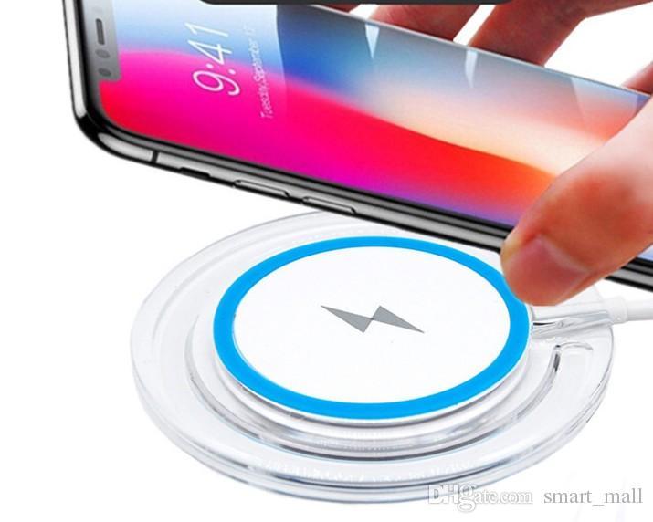Crystal Wireless Charger Portable Qi Ładowanie Odbiornik do Samsung S6 Edge S7 Edge S8 Plus iPhone 8 x z pakietem detalicznym LLFA