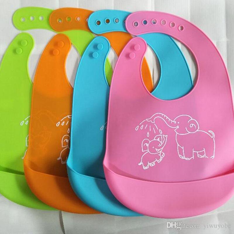 Baby Silikon wasserdicht Lätzchen mit Tasche Fütterung Speichel Handtuch Schü