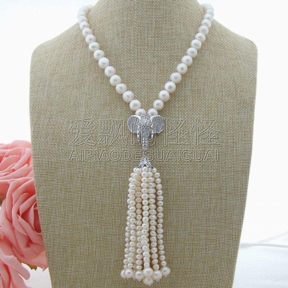 "N010607 19 ""collier de perles blanches"