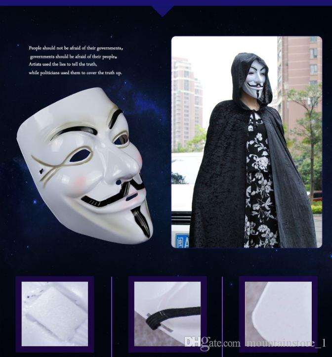 Newly Party Masks V for Vendetta Mask Anonymous Guy Fawkes Fancy Dress Adult Costume Accessory Party Cosplay Masks