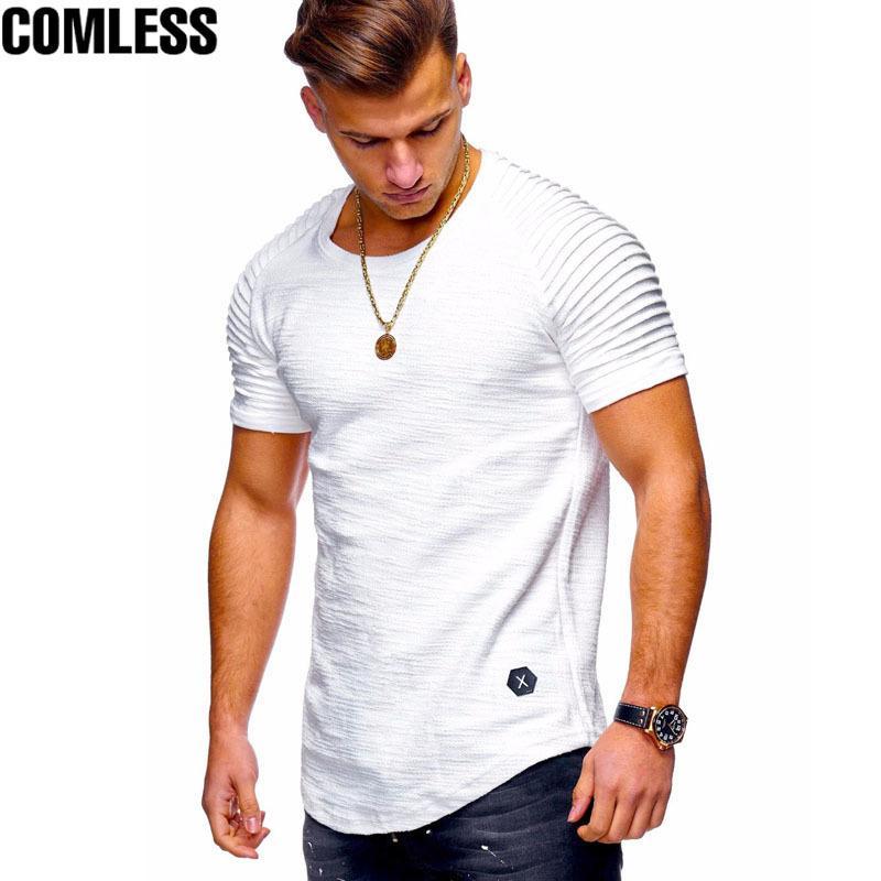 Yaz erkek O-Boyun Slim Fit Düz Renk Kısa kollu Tişört Çizgili Fold Raglan Kollu Tarzı T gömlek Erkekler Tops Tees M-XXXL Y1892108
