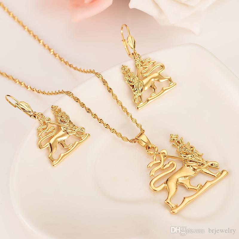 africanethopia lion king Earrings Necklace jewlry Set Gold Color Wedding bridal Jewelry Sets For Women Gift