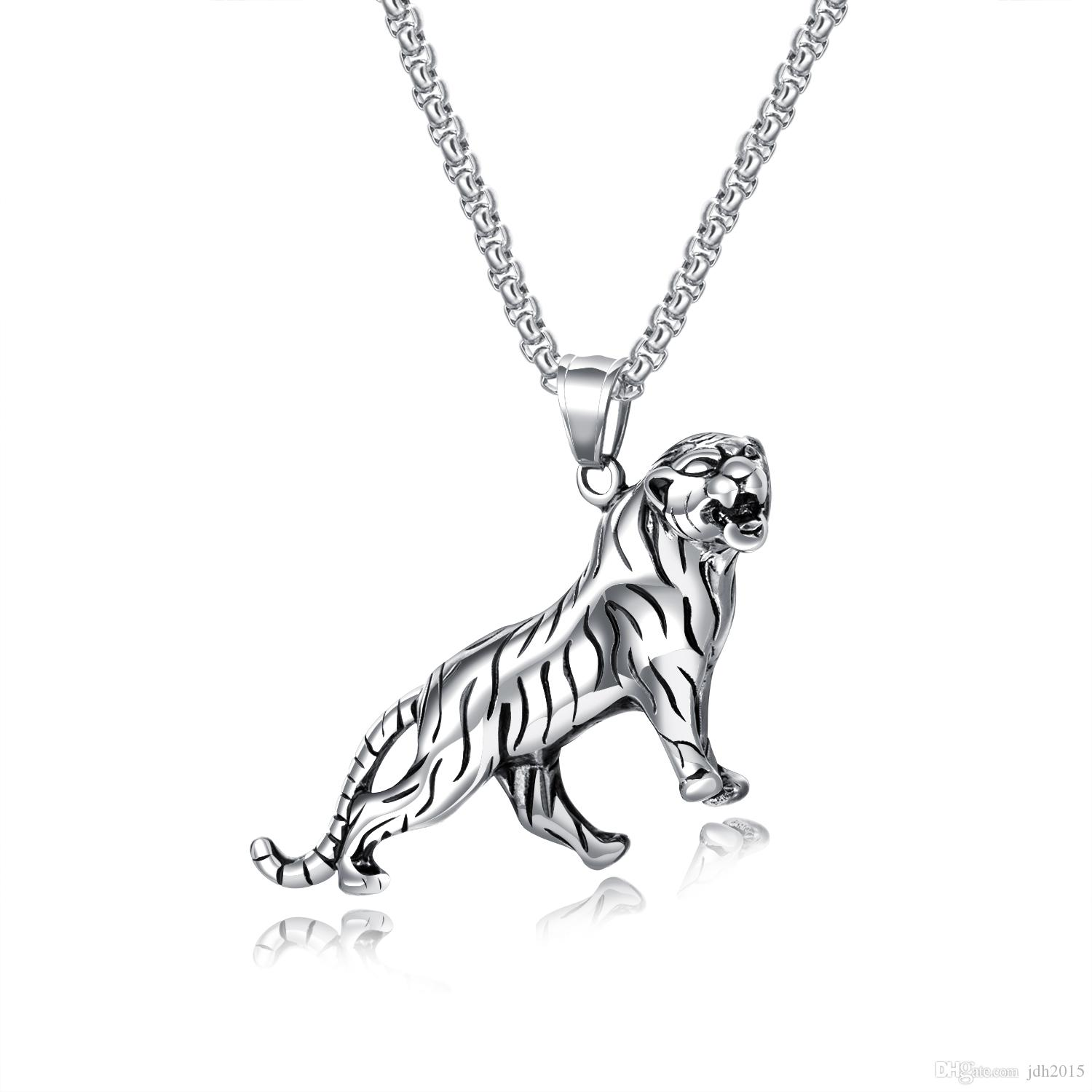 Wild Fierce Stainless Steel Animal Tiger Pendant Necklace For Hip Pop Men