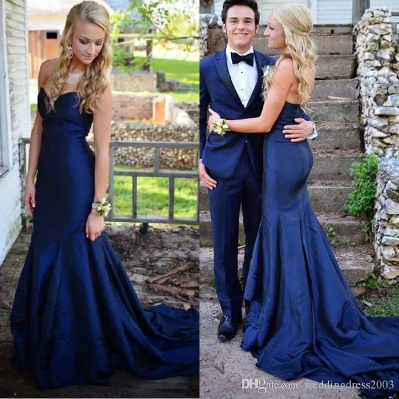 Compre Otoño 2018 Vestido De Noche Elegante Escote Corazón Corte Sirena Corte Royal Tafetán Azul Vestidos Para Ocasiones Especiales A 8443 Del