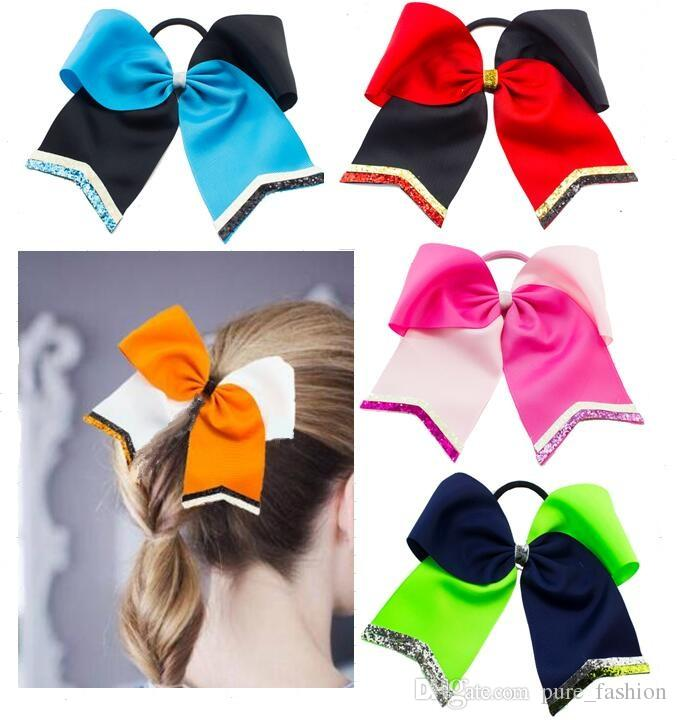 8PCS/LOT hot sale glitter cheer hair bows Cheerleading Bow With Glitter Tails Hair Accessories Christmas gift