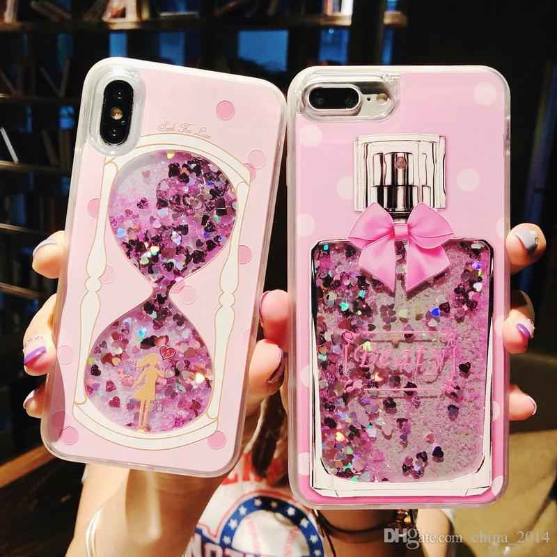 For iPhone XS MAX XR XS X 8 7 6 Dynamic Liquid Glitter Quicksand Sequins Phone Cases Flamingos Back Cover Case Coque DHL