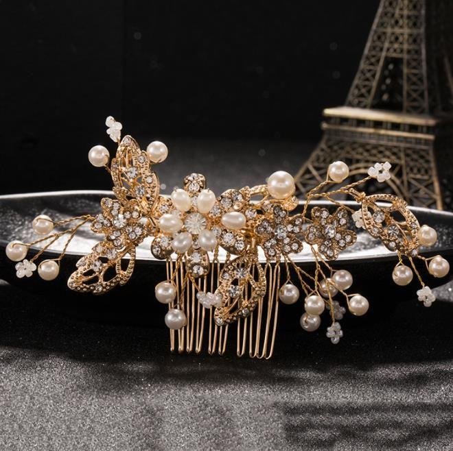 Novia, estilo europeo, novia simple, ornamento principal, cuentas hechas a mano, peine, accesorios delicados boda cristalina.