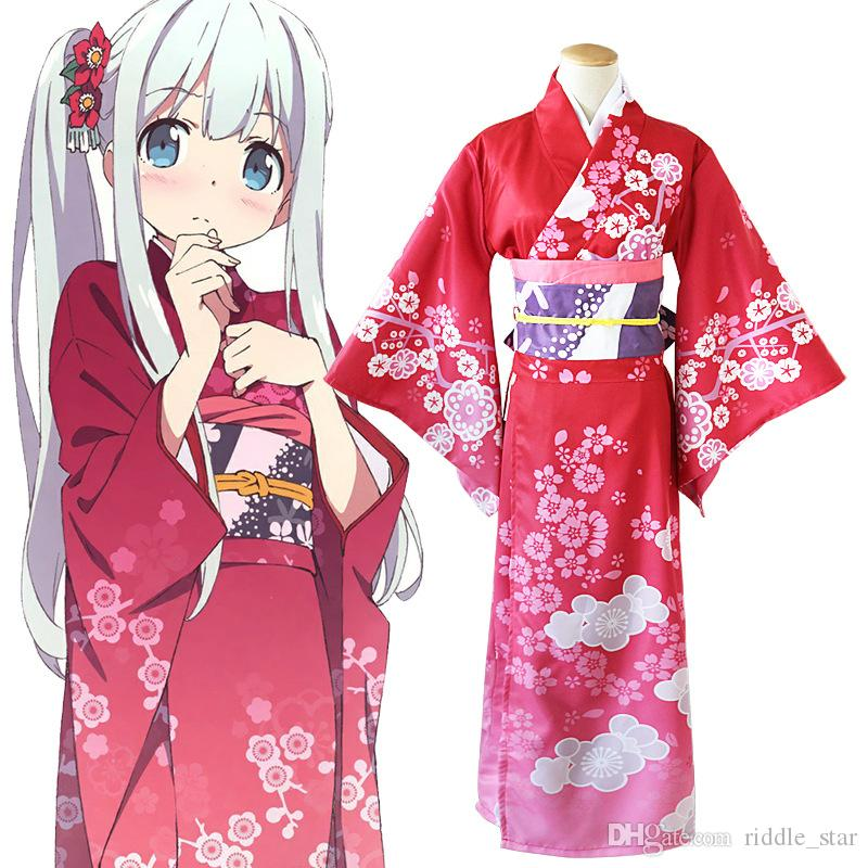Asya Boyut Japonya Anime Izumi Sagiri Sn Eromont Cosplay Kırmızı Kostüm Giydirme Gevşek Bornoz Üniforma Kimono