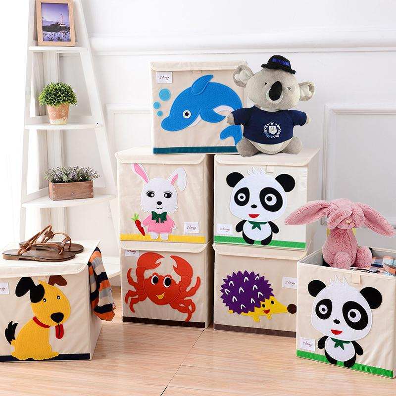 New cartoon Non-woven fabric Folding Embroider Large Storage Box for kid Toys Storage organizer clothes Cosmetics bins
