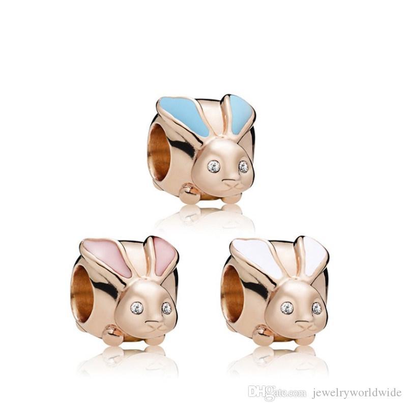 6 stile coniglio oro placcato fascino perlina grande foro moda donna gioielli stile europeo per collana braccialetto fai da te