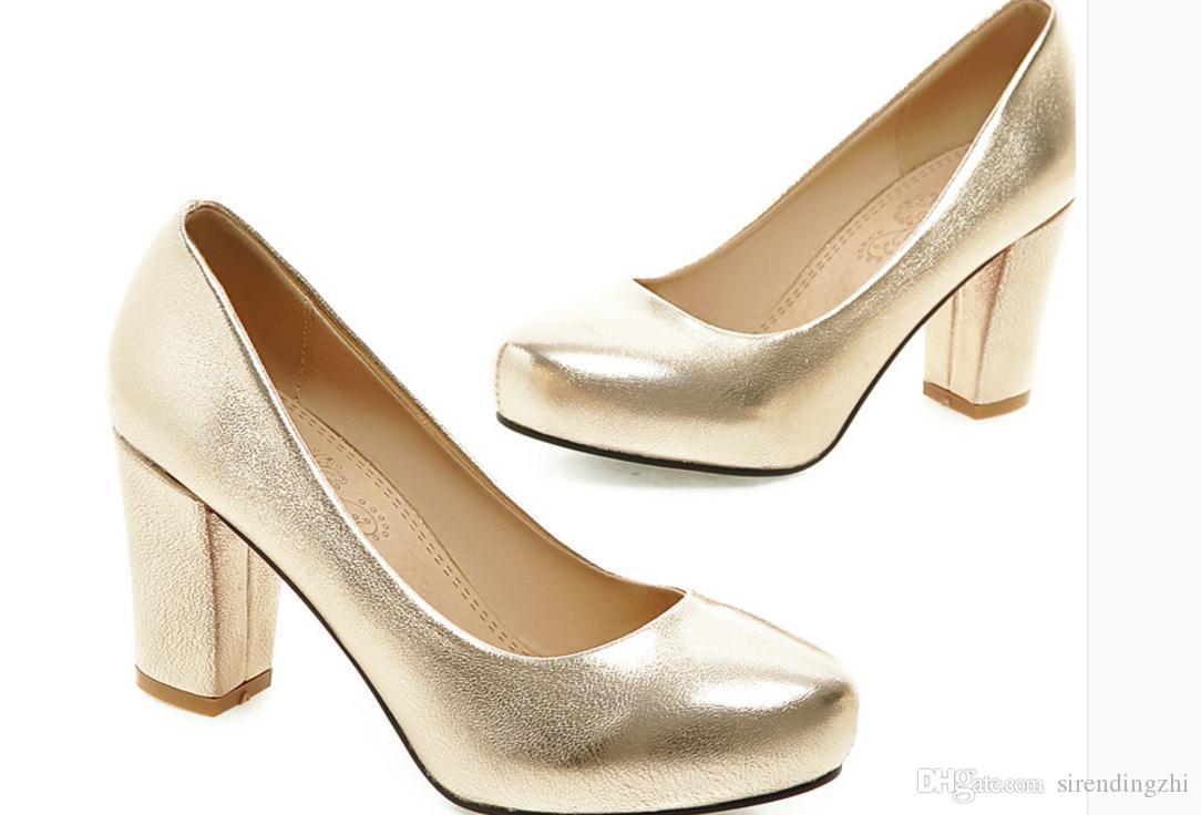 Envío gratis Caliente 2017 primavera nueva boca superficial de estilo boca baja grueso talón zapatos femeninos solos zapatos a prueba de agua zapatos de tacón alto