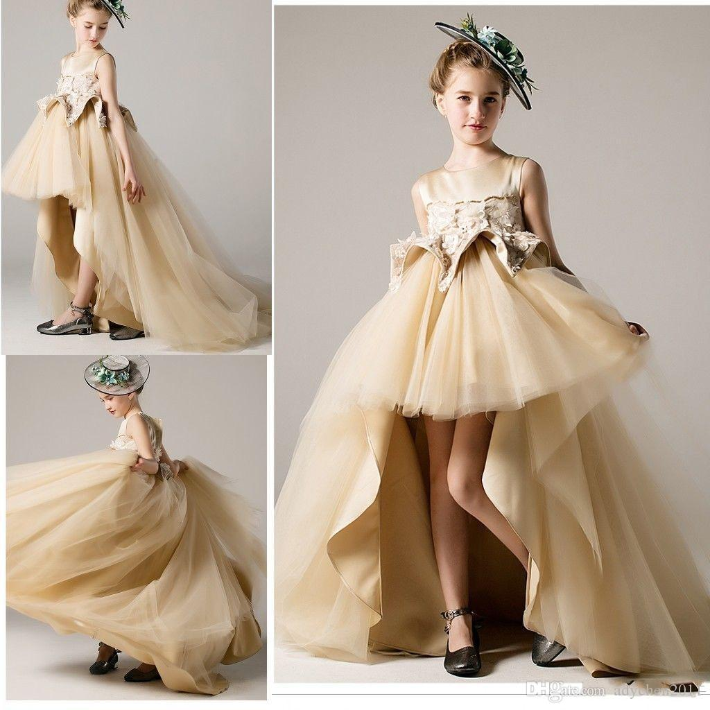 Gold Champagne Girls Pageant Dresses Hi Lo Vintage Unique Short Front Long Back Evening Gowns Formal Wear Little Girls First Communion