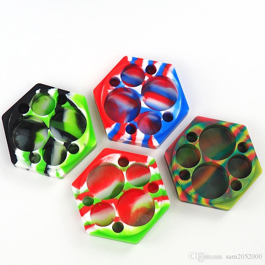 Multi-Compartment Hexagon Silikonowy koncentrat koncentratu - różne kolory 110