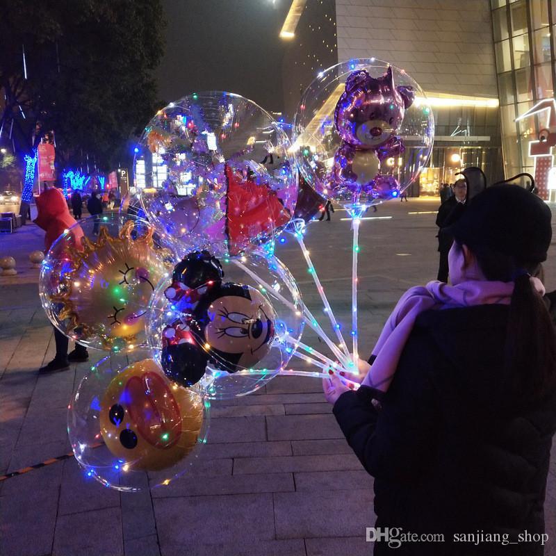 Led Balloon 3D Cartoon BOBO Nacht leuchten Ballons für Weihnachten Hochzeit Party transparent Bär Ente Kinder Ballon blinkende Dekoration