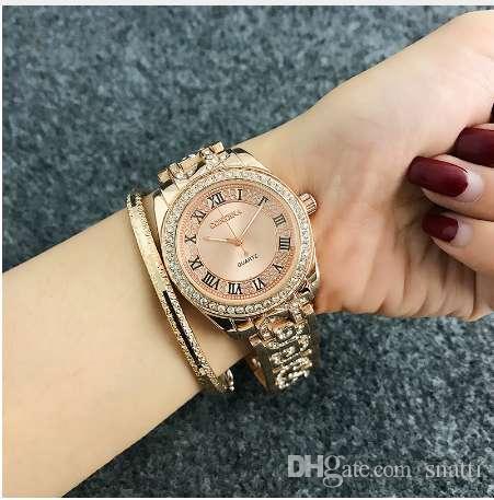 CONTENA мода римские цифры часы женщин наручные часы Алмаз женщин розового золота женские часы часы Relogio релох mujer