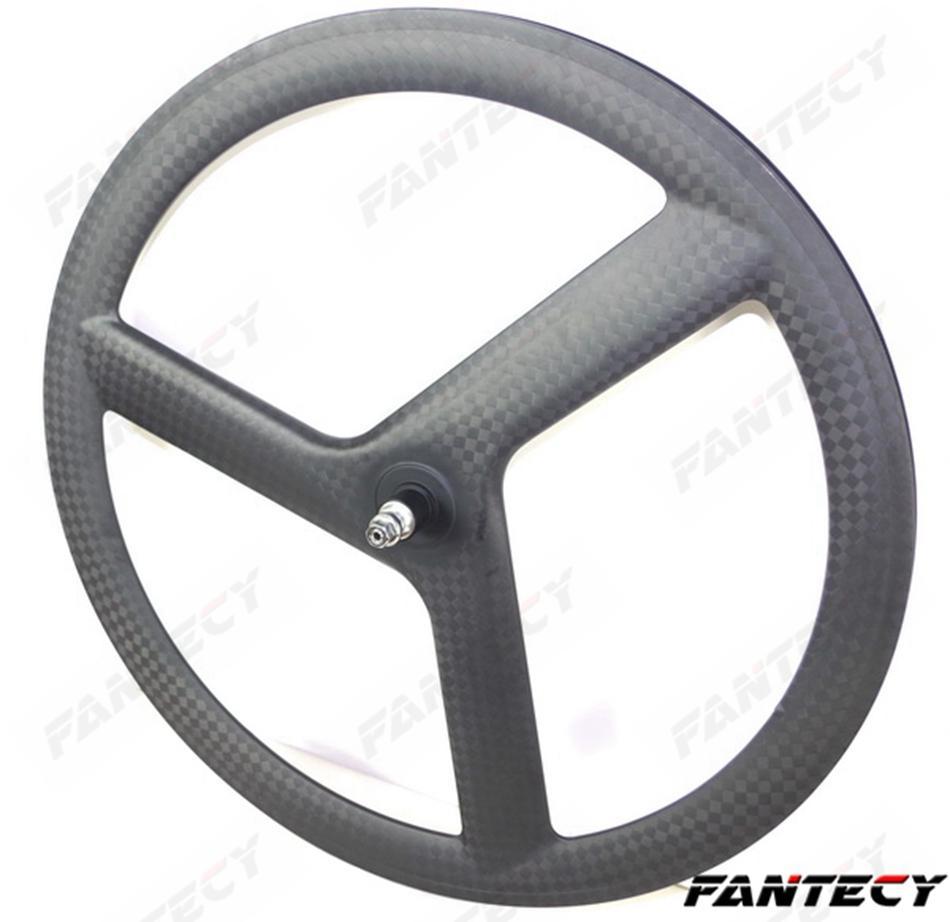 700C Full carbon 3 Spokes 20mm width 50mm depth Clincher/Tubular Wheelset tri-spoke carbon wheels for Track/ Road Bike 12k matte finish