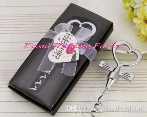 (20 Pieces/lot) Wedding souvenirs of Tuxedo Heart Corkscrew in Gift Box For Wedding wine bottle opener and Party Favors