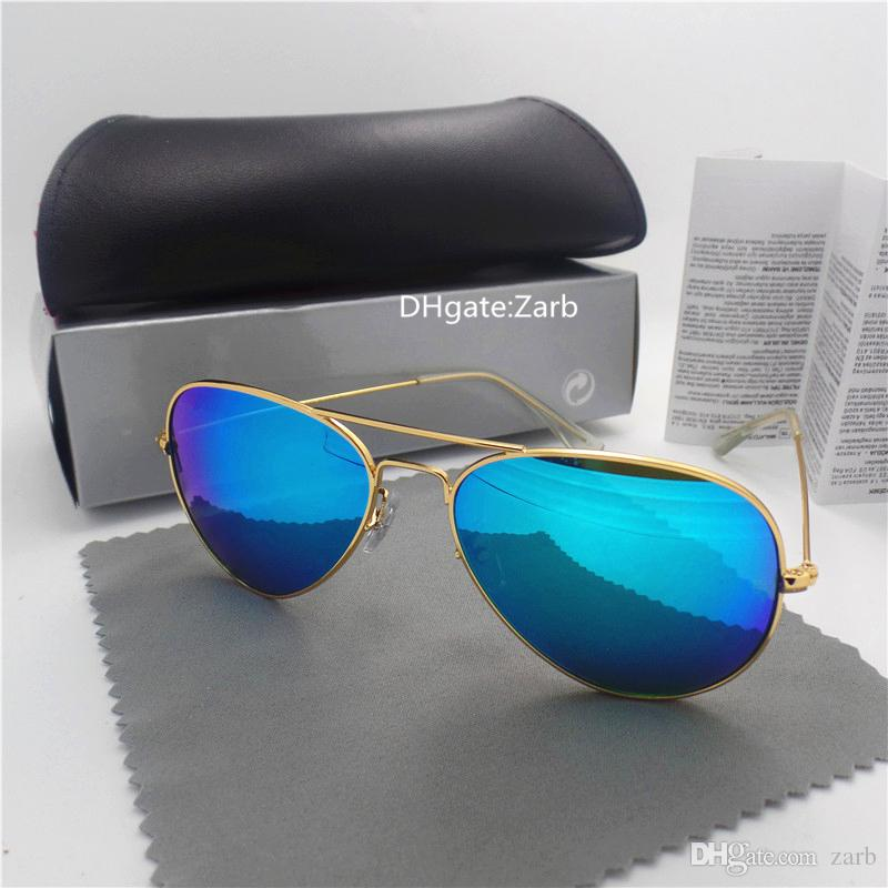High Quality Glass Lens Men Women Sunglasses UV400 Metal Frame PilotcEyewear 58/62 Pilot glasses Vintage Mirror Eyeglass With Box Case