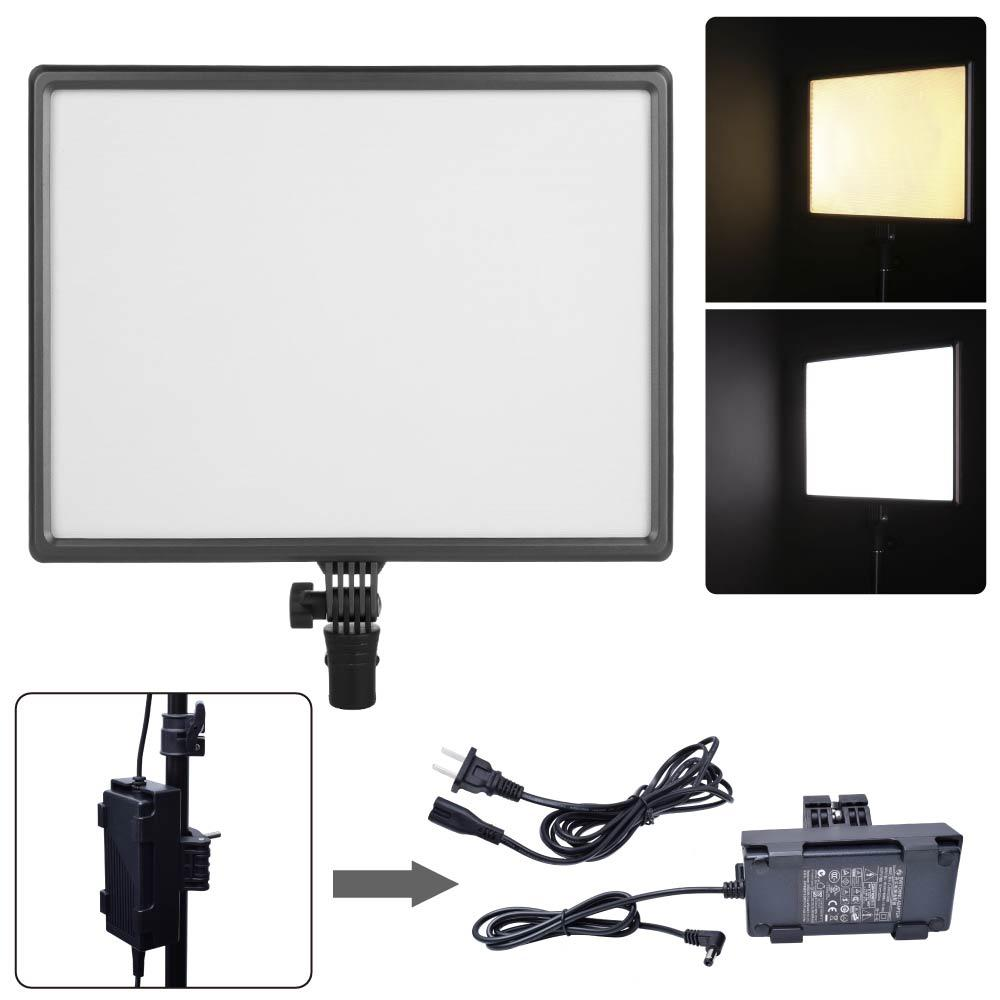 wholesale Luxpad43 CN-Luxpad43 LED 3200K-5600K Bi-Color Studio Video Light + AC Adapter Holder for Canon Nikon Sony DSLR Camera