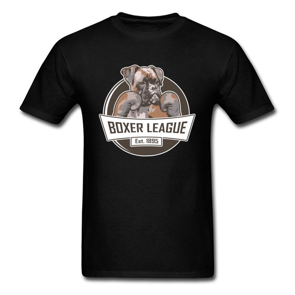 Boxer Dog League T Shirt Men Cool Design Faddish T-Shirts 100% Cotton Not Pocket Men's Chibi Great Dane Dog Tshirt For Youth Man