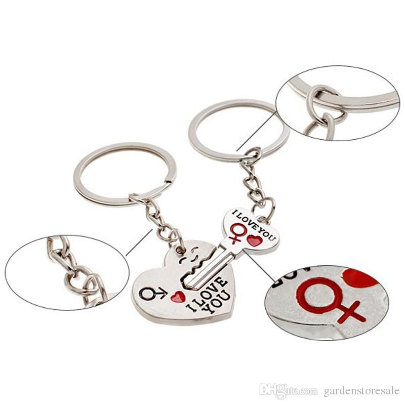 1Pair Couple I LOVE YOU Letter Keychain Heart Key Ring Silvery Lovers Love Key Chain Souvenirs Valentine's Day gif ln