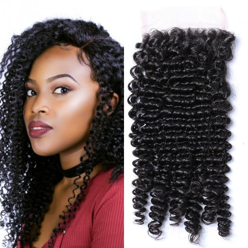 Burmese Human Hair Lace Closure 4x4 Kinky Curly Remy Hair Cheap Lace Closure with Bleached Knots FDshine