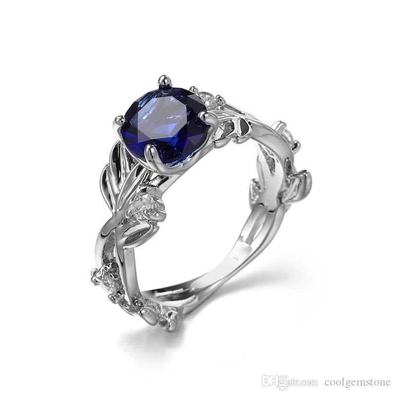 6 Pcs Luckyshine Valentine's Day gift Round Blue Crystal CZ Gemstone Ring Fashion Women Wedding Ring 925 Sterling Silver Plated