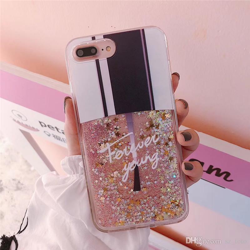 YunRT Mode Bling Liquid Quicksand Cases Pour IPhone 6 6S Plus Affaire Vernis À Ongles Couverture Arrière Pour Iphone 7 Coque Pour Iphone X 7 8 Plus ...