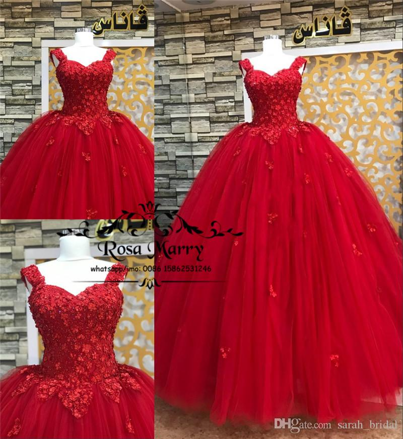 Princess Masquerade Sweet 16 Quinceanera Dresses 2020 Ball Gown 3D Floral Sequined Beaded Red Tulle Arabic Vestidos De 15 Anos Prom Gowns