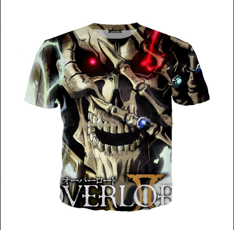 Atacado-Mais Novo Moda Mens / Womens Estilo Verão Anime Game Overlord Crânio Engraçado 3D Impressão Casual T-Shirt D0X0061