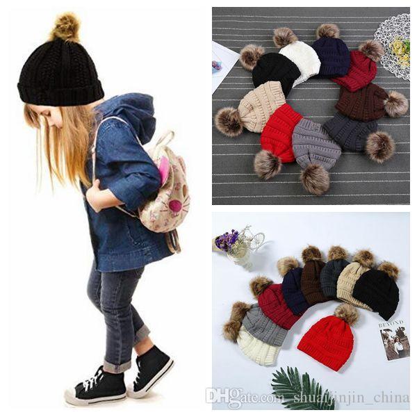 어린이 성인 모피 포도 비니 라이너 유행 모자 겨울 니트 럭셔리 케이블 slouchy 두개골 모자 레저 파티 모자 CCA 20pcs